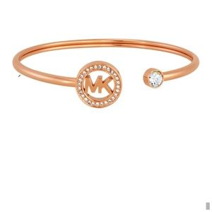 MICHAEL KORS • Rose Gold Crystal Logo Bracelet